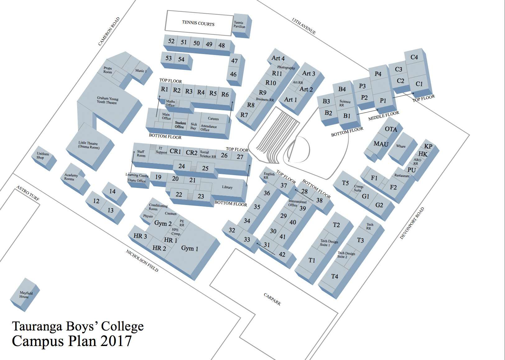 School Map - Our Facilities - About Us  -  Tauranga Boys' College